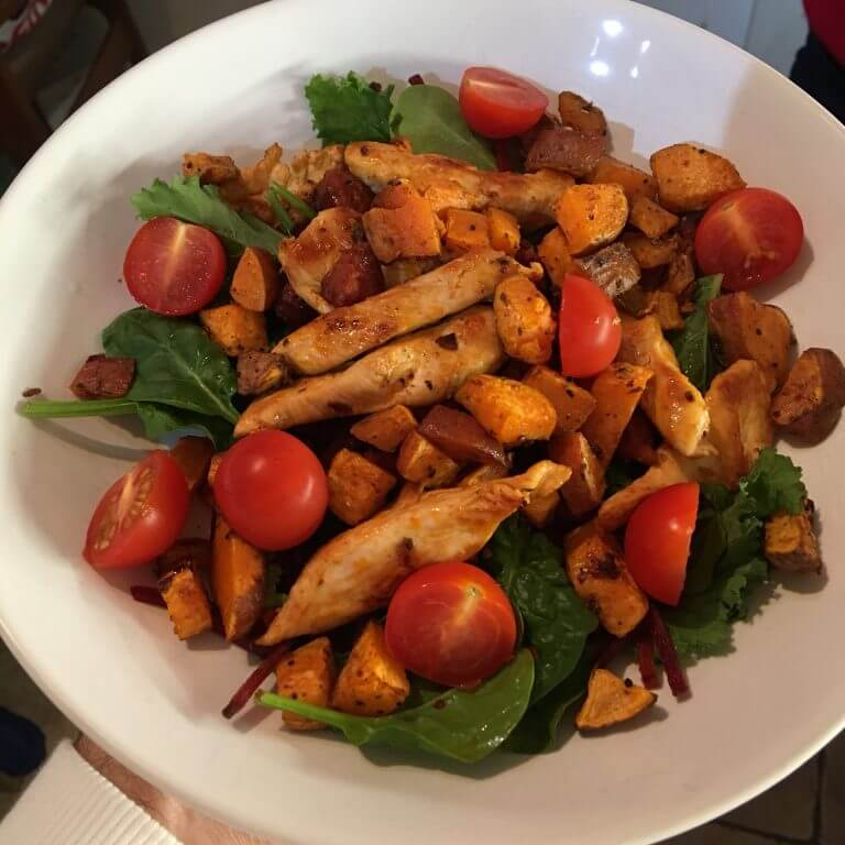 Chicken, chorizo & sweet potato salad | Recipes